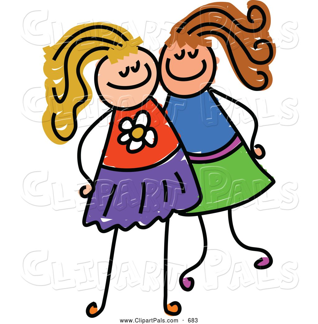 Royalty free pal clip art of a childs sketch of two grinning.