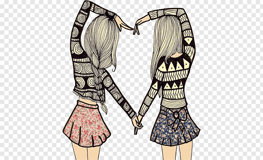 Twin female illustration, Best friends forever Friendship.