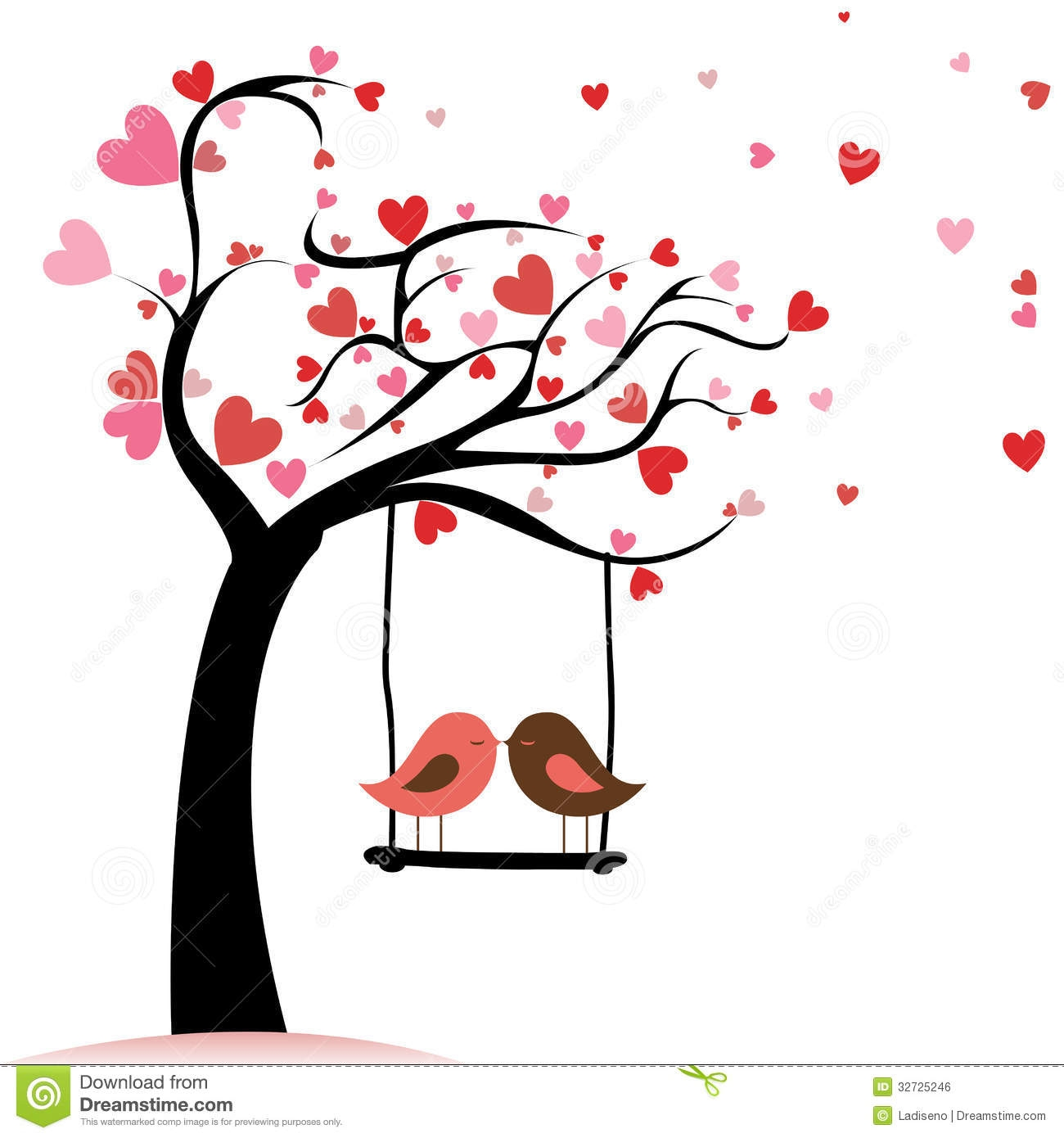 Two birds in love clipart.