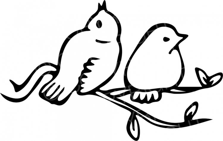Birds On A Branch Clipart Black And White.