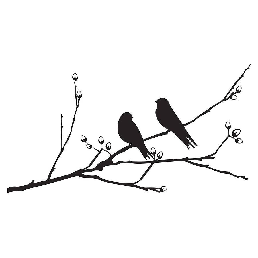Love Bird Silhouette Branch Birds on a branch wall sticker.