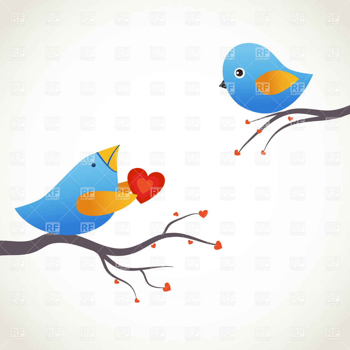 Two blue birds on the branches Vector Image #22352.