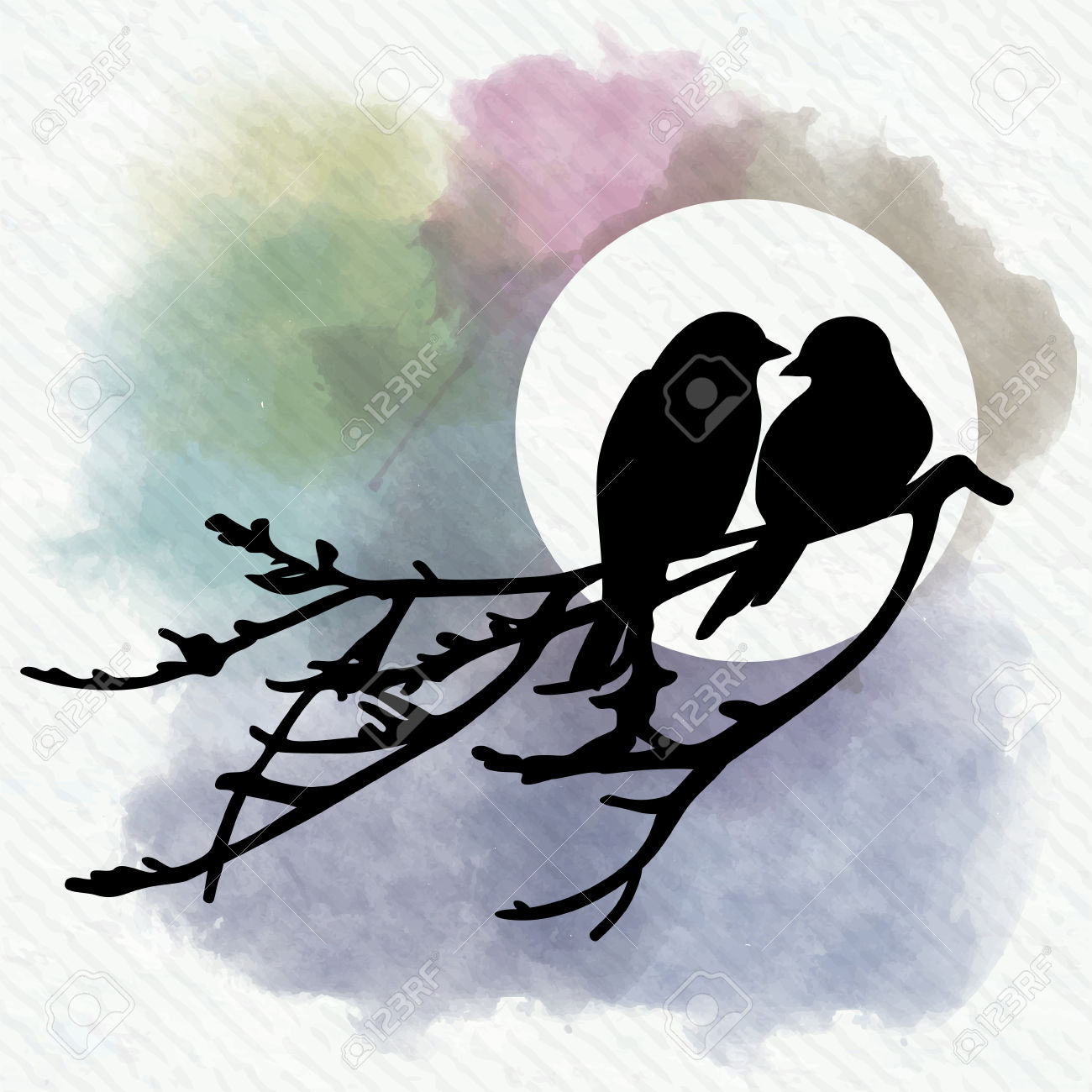 Two Birds Is Sitting On A Branch Royalty Free Cliparts, Vectors.