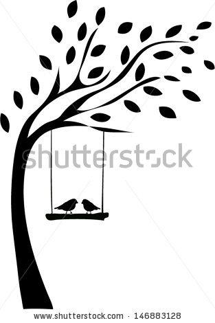 Tree Silhouette Two Birds Stock Vector 146883128.