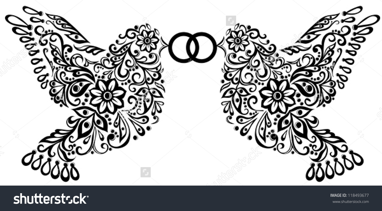 Wedding Clipart Silhouette Two Birds That Stock Vector 118493677.