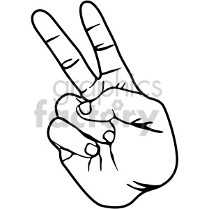 hand sign two black white clipart. Royalty.