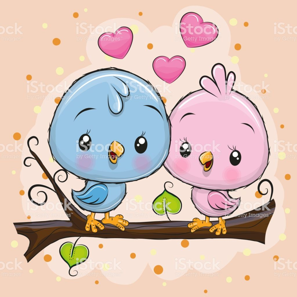 Two Cute Cartoon Birds is sitting on a branch.