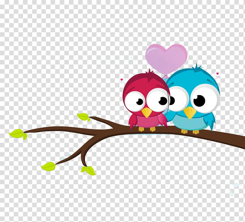 Two blue and pink birds perching on branch illustration.