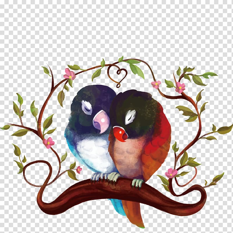 Two blue and red birds on branch digital art, Bird Parrot.