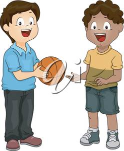 Clipart Illustration of Two Boys With a Basketball.