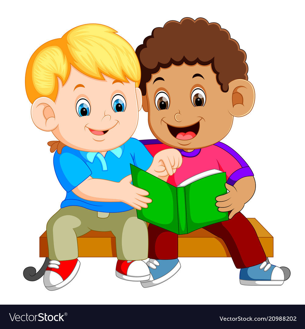 Two boys reading book on bench.