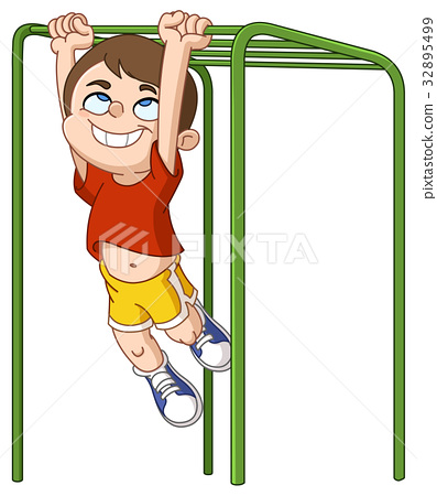 boy climbs monkey bars.