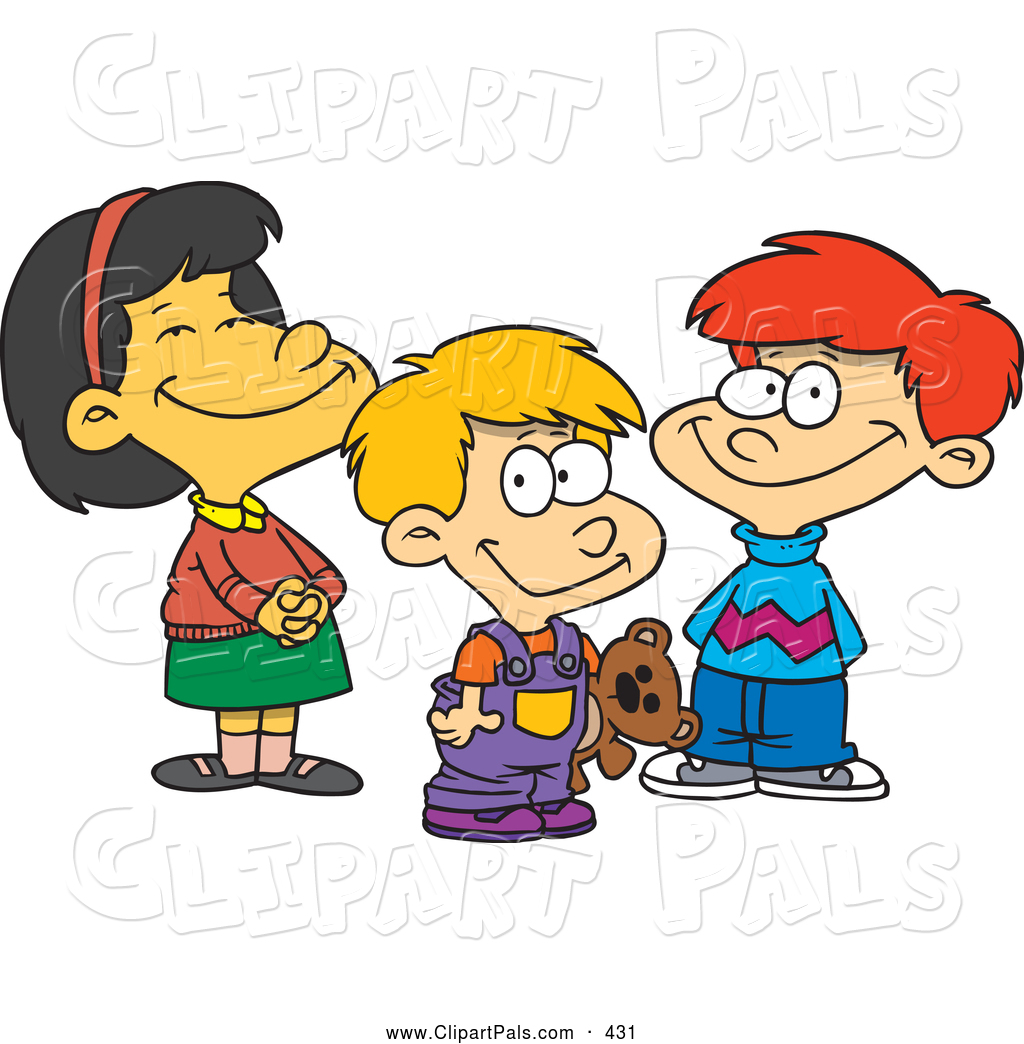 2 Boys And 1 Girl Clipart.