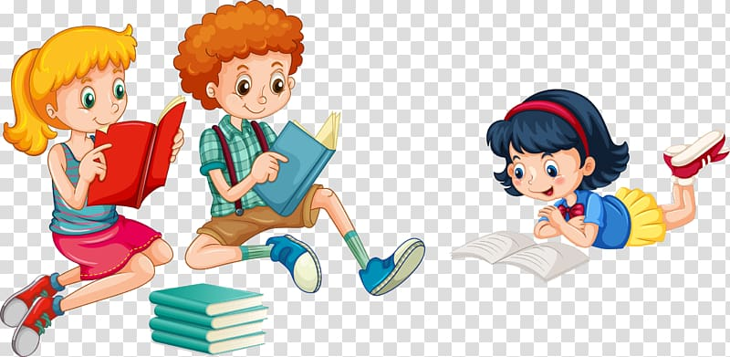 Two girls and one boy reading books , Reading Child.