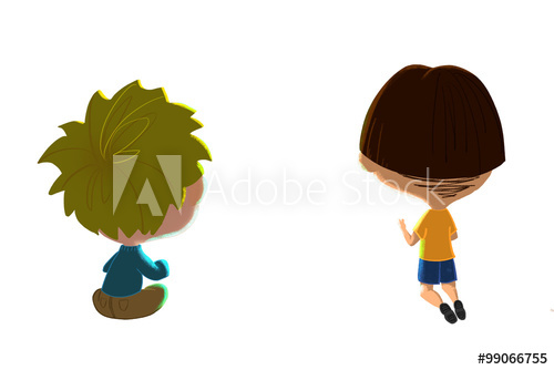 Clip Art Set: Two Boys. Realistic Fantastic Cartoon Style.