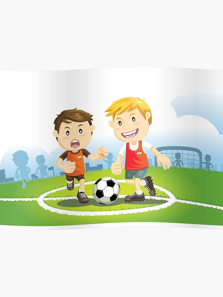 Two boys play soccer on a field.