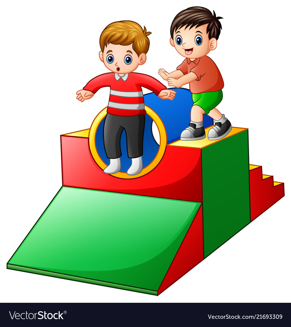 Two boys playing in the playground.