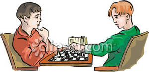 Two Boys Playing Chess.