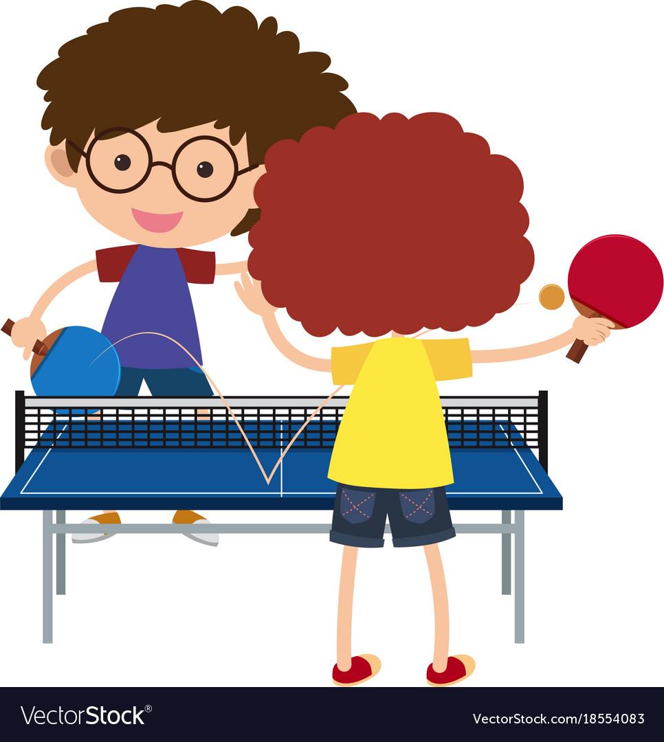 Two boys playing pingpong.
