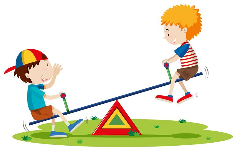 Two boys playing seesaw in the park.