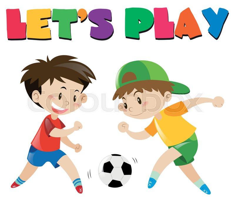Two boys playing football illustration.