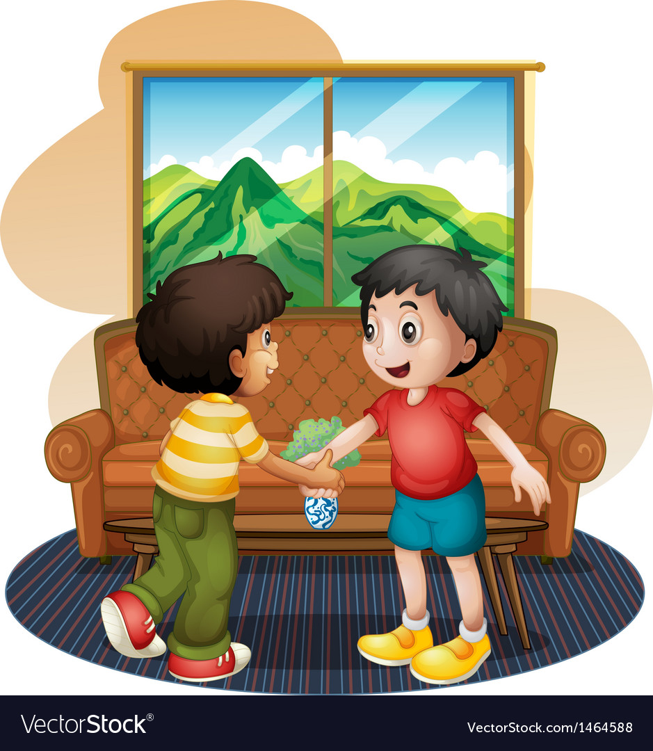 Two boys shaking hands near the sofa.