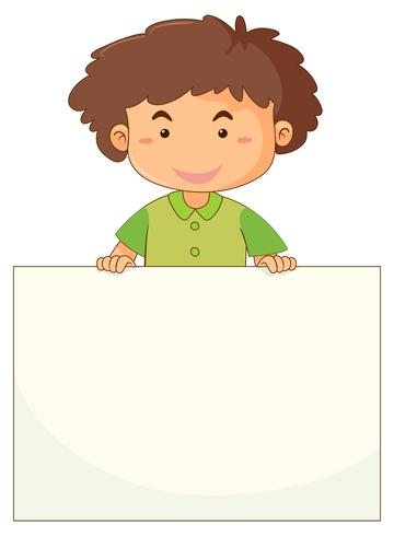 Little boy holding blank paper.