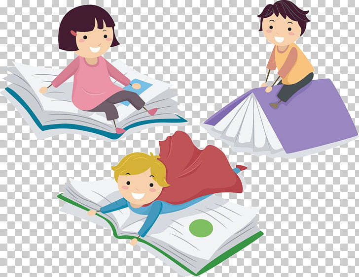 Child Paper , Children learn, three children on top of book.
