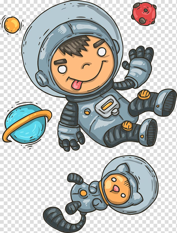 Two boy and cat astronauts illustration, Astronaut Euclidean.