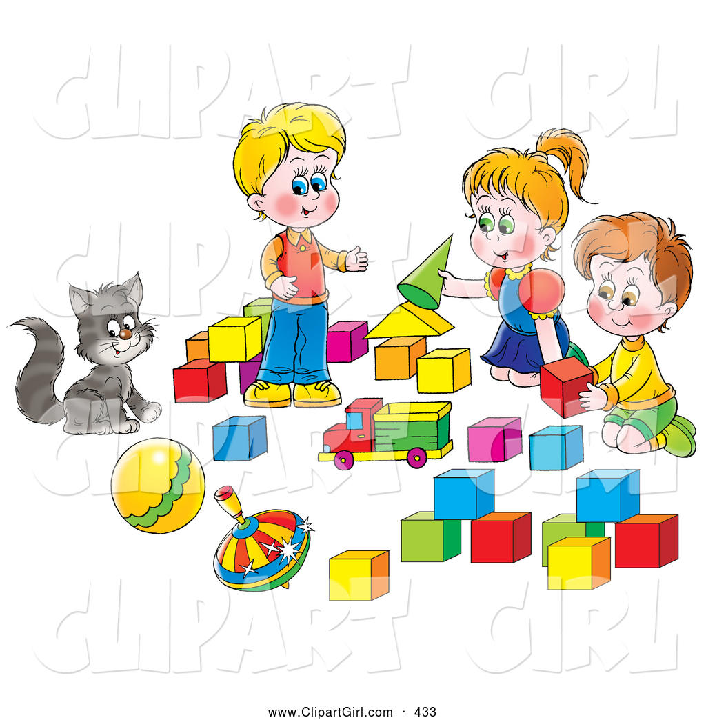 Clip Art of a Smiling Cat Watching Two Boys and a Girl Play.