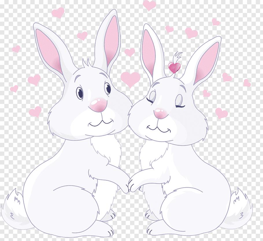 Two white rabbit illustration, Domestic rabbit Easter Bunny.
