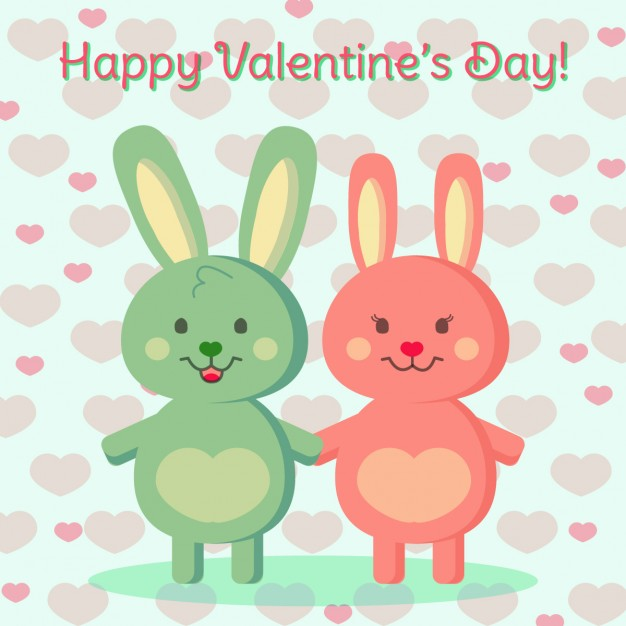 Background with two bunnies in love.