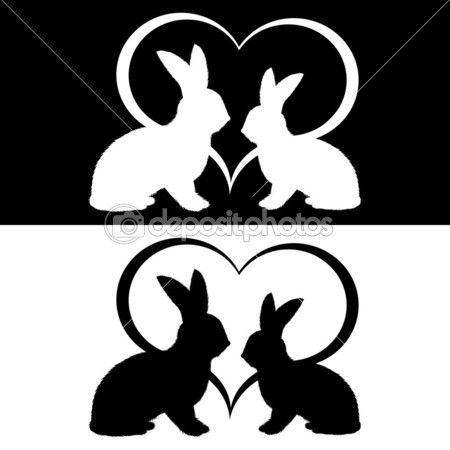 Monochrome silhouette of two rabbits and a heart.