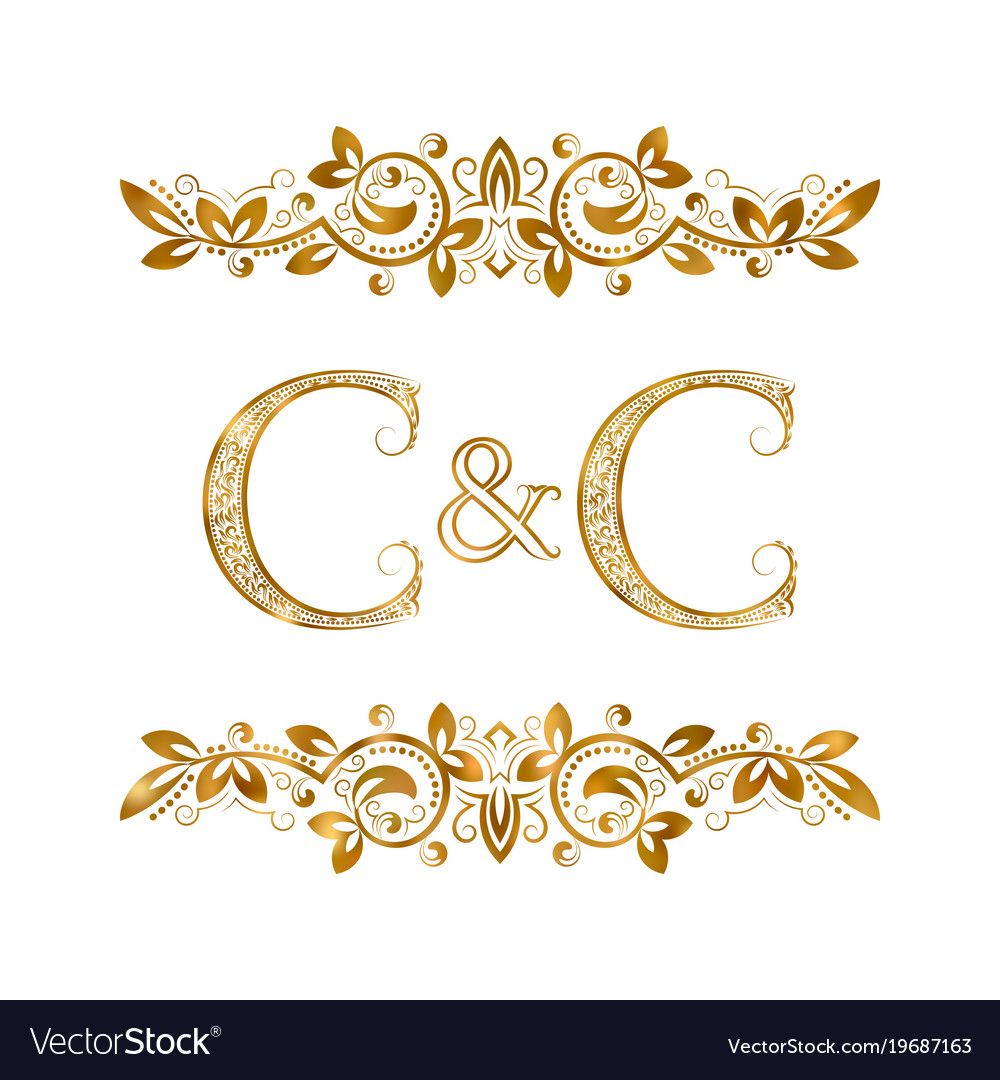 C and c vintage initials logo symbol two letters.