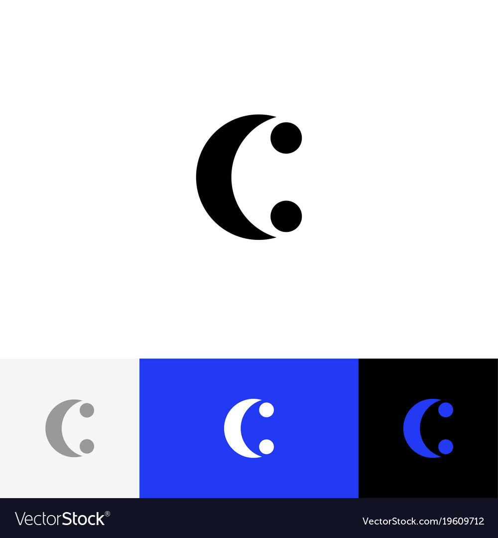 C with two dots minimalism logo letters c.