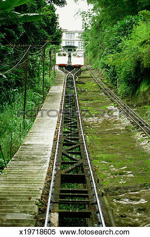 Stock Image of Two cable cars on railroad track, Santos, Brazil.