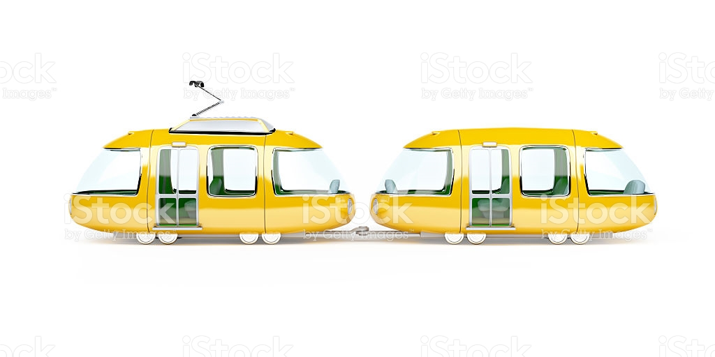 Orange Cartoon Tram Two Wagon Side stock photo 494904258.