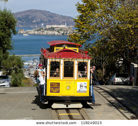 San Francisco Cable Car Stock Images, Royalty.