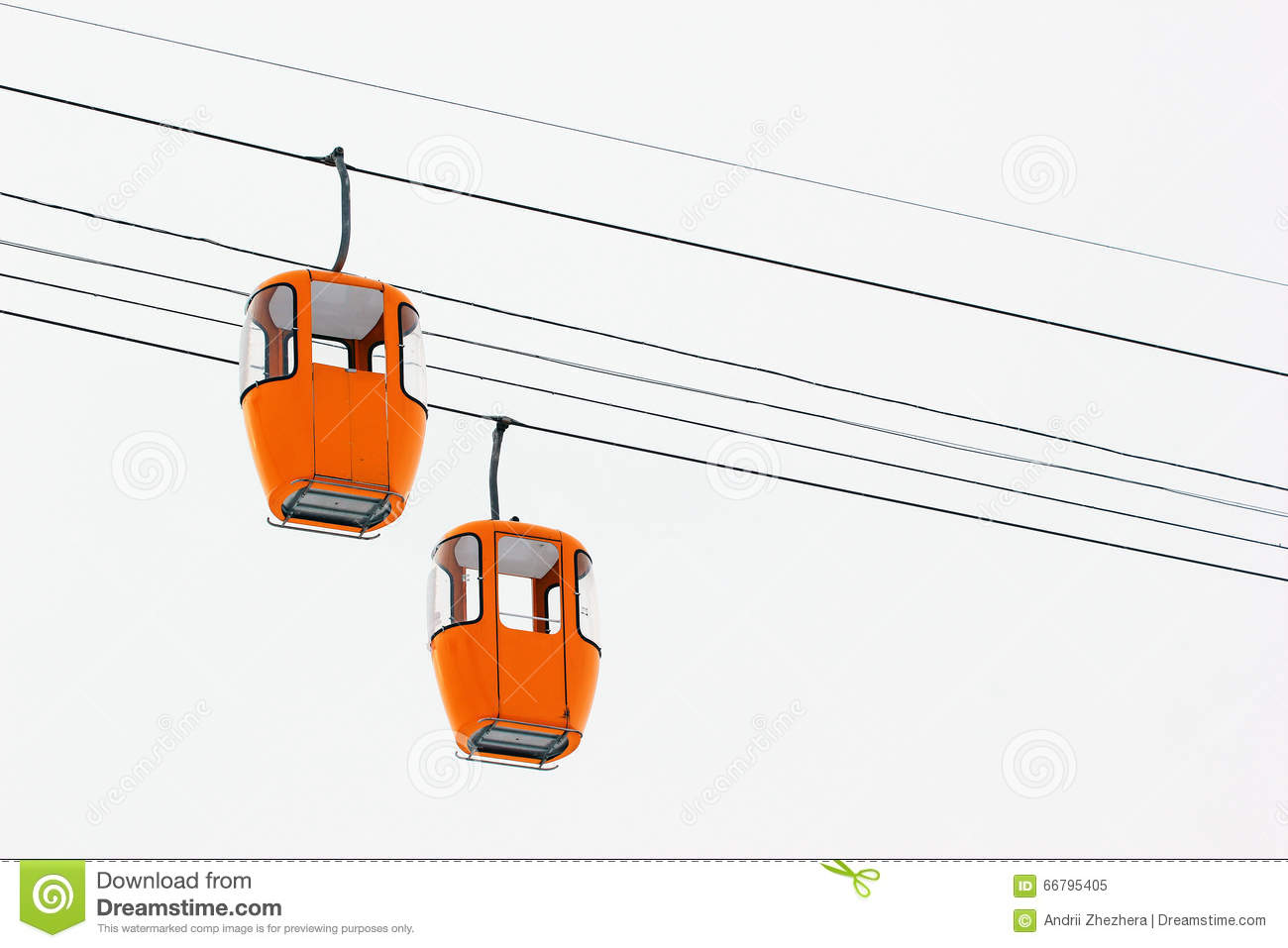 Two Empty Yellow Cabins Of Cable Car Stock Photo.