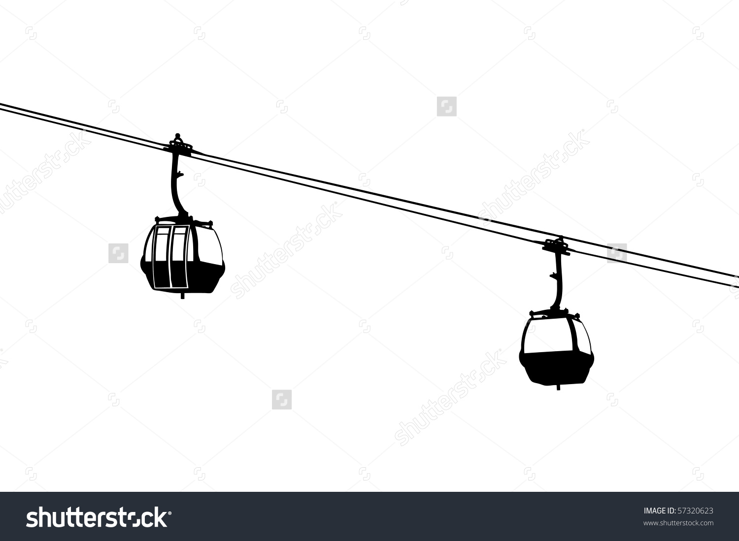 Silhouette Two Aircable Cabins Isolated On Stock Illustration.