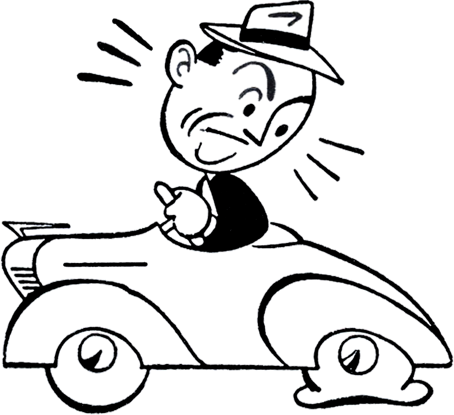 Retro Car Trouble Clip Art.