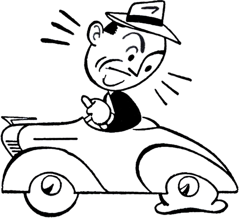 Retro Car Trouble Clip Art.