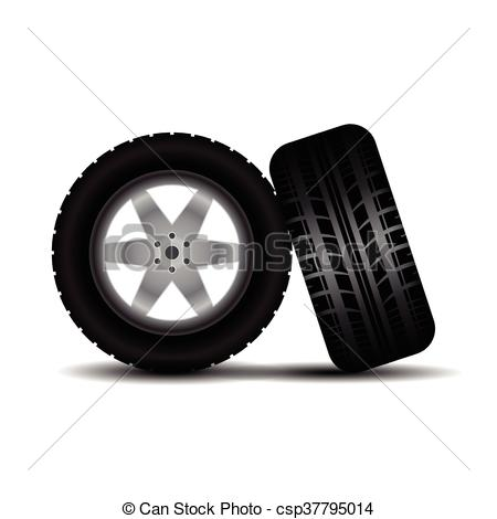 Vector Clip Art of Car tires with wheels and shadow.