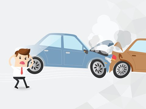 businessman driver shocked auto accident two cars, Clipart.
