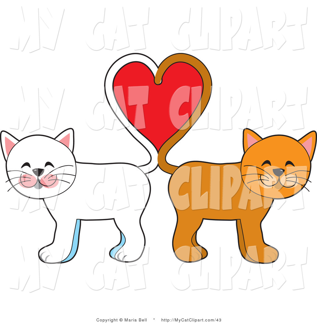 Clip Art of Two Cats,.