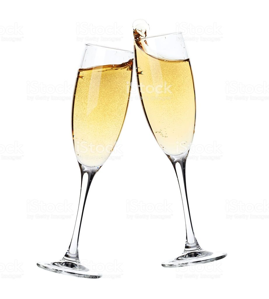 Cheers! Two champagne glasses. Isolated on white background.