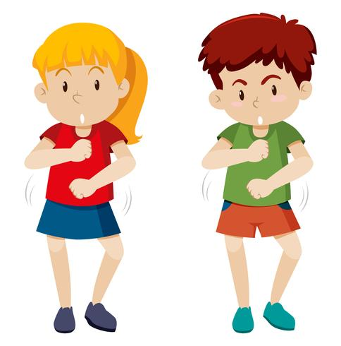 two children dancing white background.