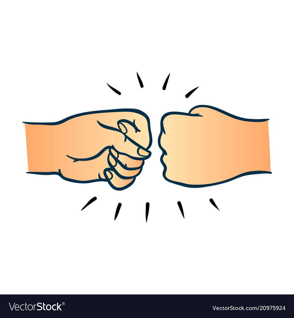 Two human hands giving fist bump gesture in sketch vector image.