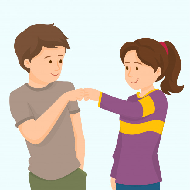 Cheerful friends give fist bump Vector.