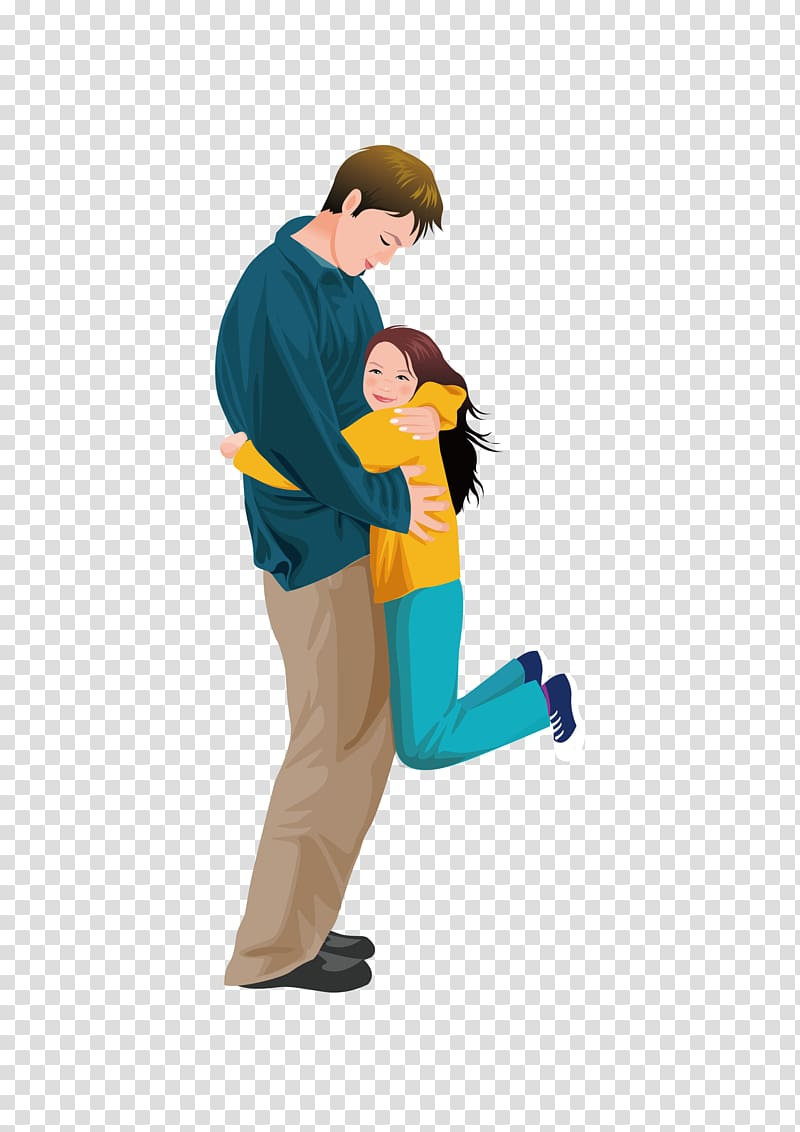 Man hugging girl digital artwork, Father Daughter Hug Girl.